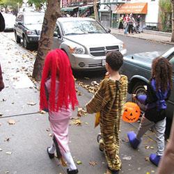 Kids trick-or-treating on Halloween
